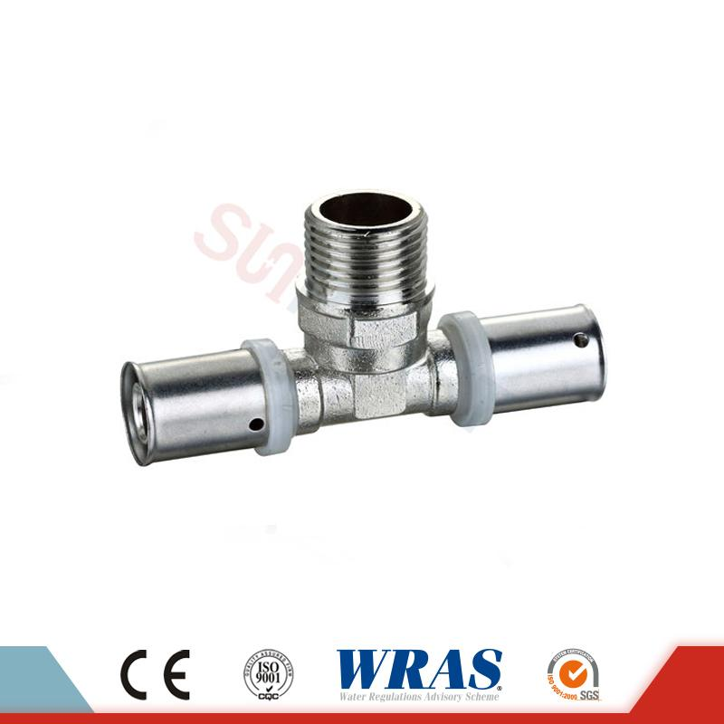 Brass Press Male Tee PEX-AL-PEX Multicayer Pipe